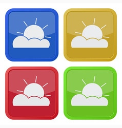 Set of four square icons with partly cloudy vector