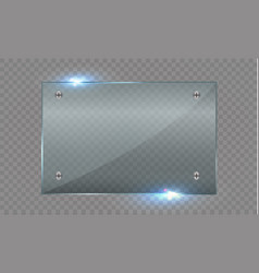Set of glass plates glass banners on a vector