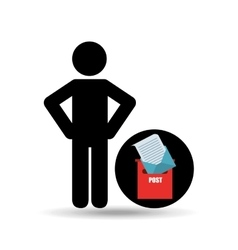 silhouette man with email post message vector image