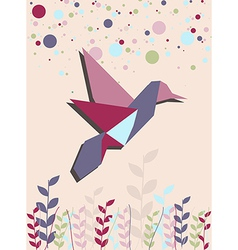 Single Origami hummingbird in pink vector image vector image