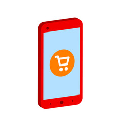 Smartphone with shopping cart mobile shopping vector