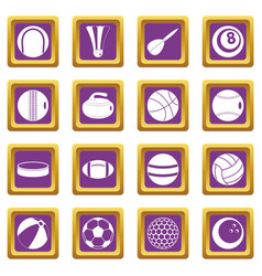 sport balls icons set purple vector image vector image