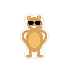 Stylish paper sticker on white background bear vector