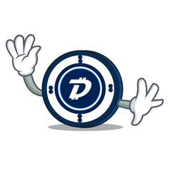 Waving digibyte coin character cartoon vector