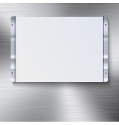 White plate with metal frame vector image vector image