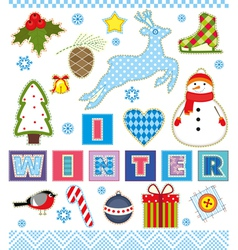 Winter Set Textile Element vector image vector image