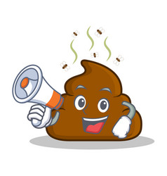 With megaphone poop emoticon character cartoon vector