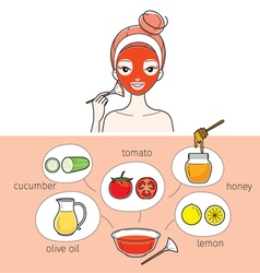 Young woman with natural facial mask vector