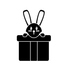 Cute rabbit hiding gift box surprise pictogram vector