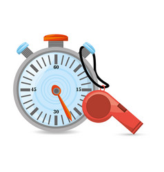 Chronometer and whistle to competition training vector