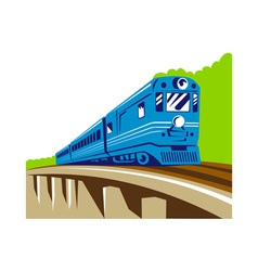 Diesel train locomotive retro viaduct bridge vector