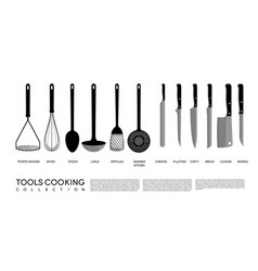 kitchen cooking tools set vector image