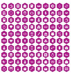 100 deposit icons hexagon violet vector