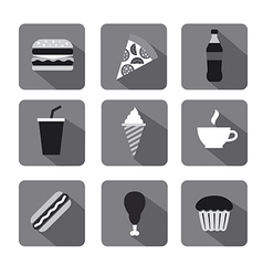 Fast food icon set gray vector