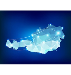 Austria country map polygonal with spot lights vector