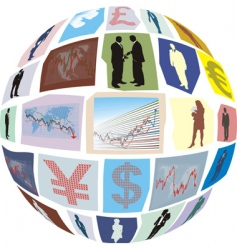 Business clippings glued to sphere vector
