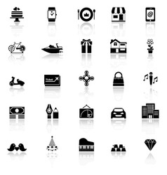 Birthday gift icons with reflect on white vector