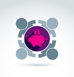 Business team working on personal finances icon vector