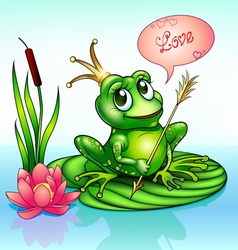 Frog princess on a leaf with vector