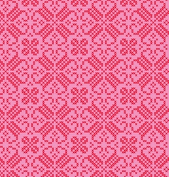 Embroidered nordic red pink pattern vector