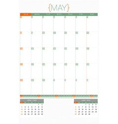 Calendar planner 2016 design template may week vector