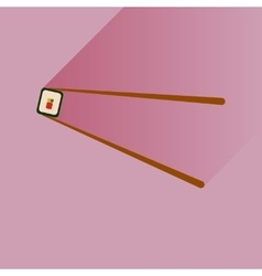 Flat icon sushi roll and chopsticks vector