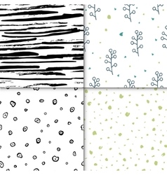 Set of seamless floral pattern isolated on vector