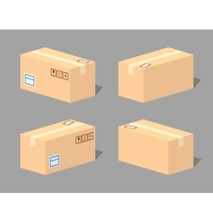 Low poly closed cardboard box vector