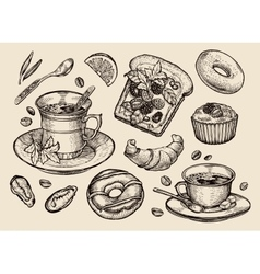 Fast food hand drawn sandwich dessert coffee vector