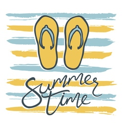 summer time card with flip flops and stripes vector image