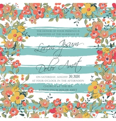 Wedding invitation flowers and stripes vector