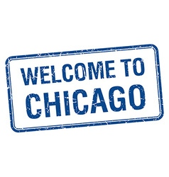 Welcome to chicago blue grunge square stamp vector