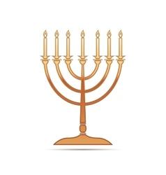 Gold hanukkah menorah icon on white background vector