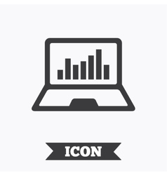 Laptop sign icon notebook pc with graph symbol vector