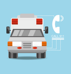 Ambulance car with phone number to urgency vector