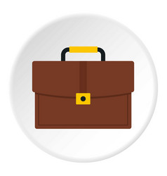 Brown business briefcase icon circle vector