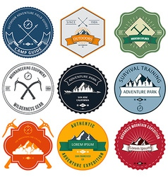Camping mountain adventure hiking explorer vector image
