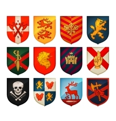 Collection of medieval shields and coat arms vector image vector image