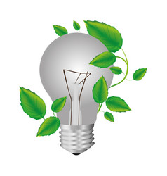 Color silhouette with light bulb and creeper plant vector