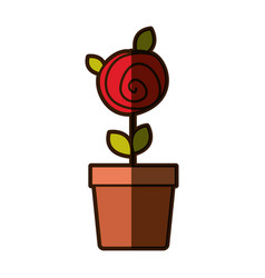 Colorful shading drawing red rose with leaves and vector