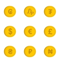 Currency icons set flat style vector