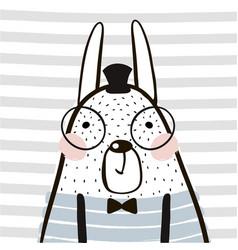 cute cartoon rabbit in scandinavian style vector image