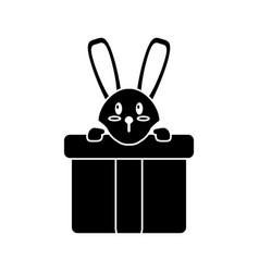 Cute rabbit hiding gift box surprise pictogram vector