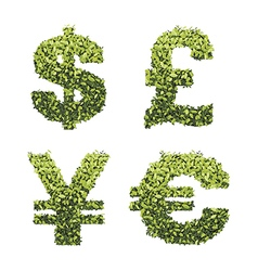 Dollar euro pound and yen currency vector
