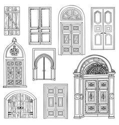 door set collection of vintage hand drawn doorway vector image