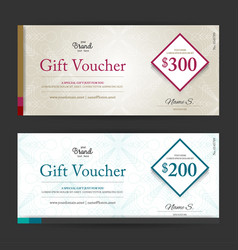 Elegant gift voucher or gift card on abstract vector