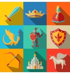 Flat icons set fairytale game - sword bow vector