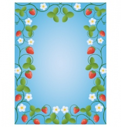 floral frame with a strawberry vector image vector image