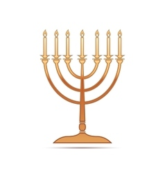 Gold hanukkah menorah icon on white background vector
