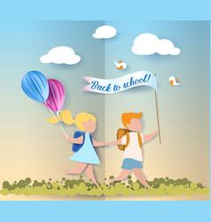 happy children boy and girl run back to school vector image vector image
